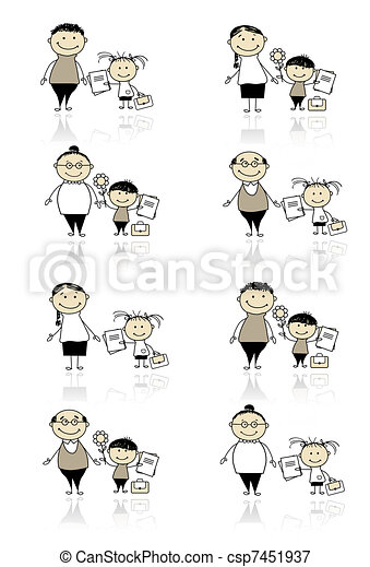 niños, padres, espalda, escuela - csp7451937