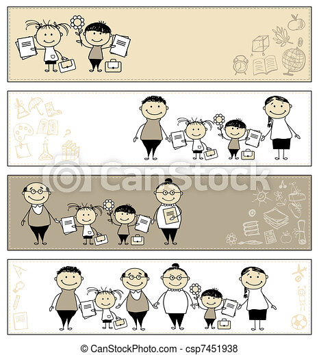 Back to school, children with parents, banners for your design - csp7451938