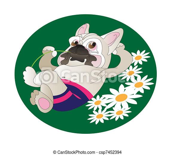 Comical drawing of  French Bulldog - csp7452394