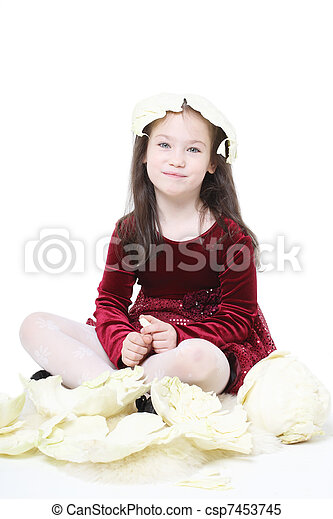 ridiculous girl with cabbage sheet on a head - csp7453745