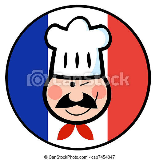 French Chef Drawing Chef Face on a French Flag