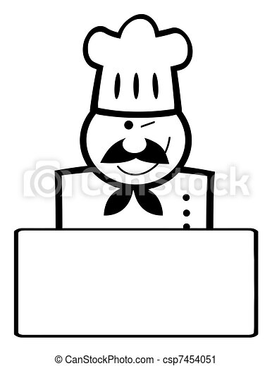Winking Black And White Chef Banner - csp7454051