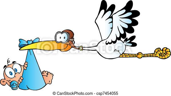 Stork Delivering A Newborn Baby Boy - csp7454055