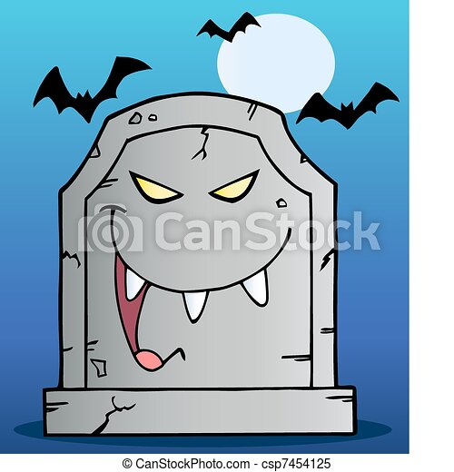 Laughing Tombstone Cartoon  - csp7454125