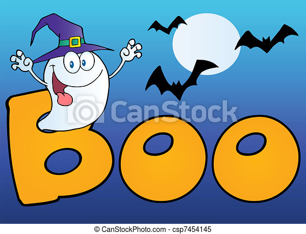 Scary Ghost Coming out Of Boo Text - csp7454145