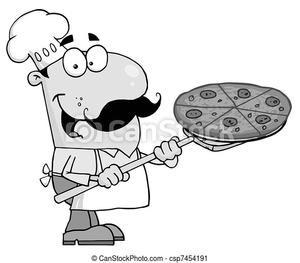 Chef Inserting A Pepperoni Pizza - csp7454191