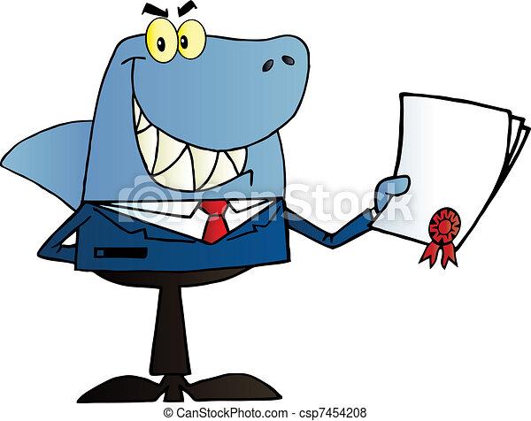 Happy Shark Businessman  - csp7454208