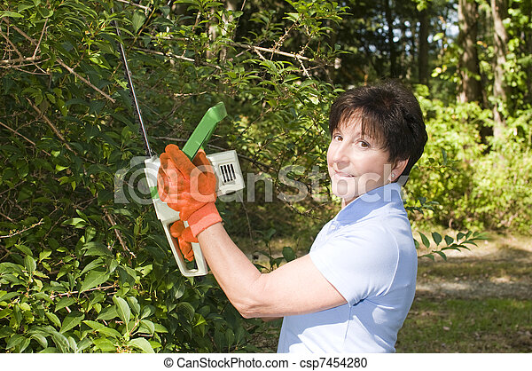 suburban housewife trimming bushes with hedge trimmer tool