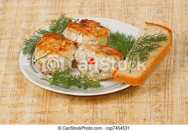 The three appetite cutlets with fresh greens and bread - csp7454531