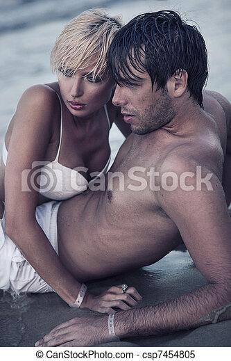 intimità, spiaggia - csp7454805