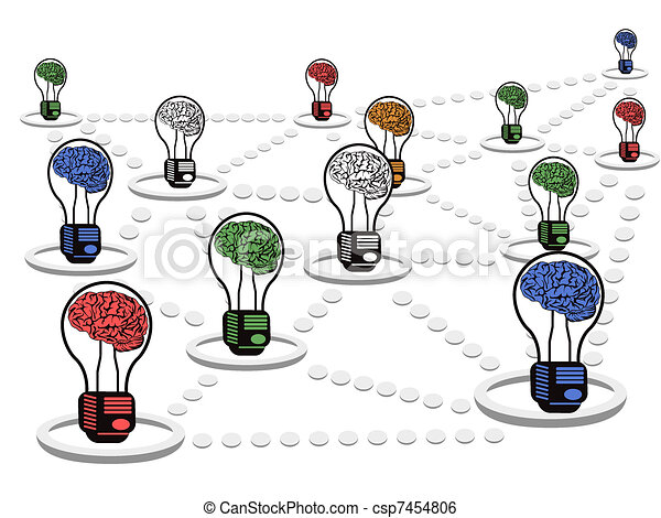 brain light bulb net work - csp7454806