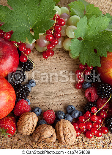 Thankgiving board with lots of fruits - csp7454839