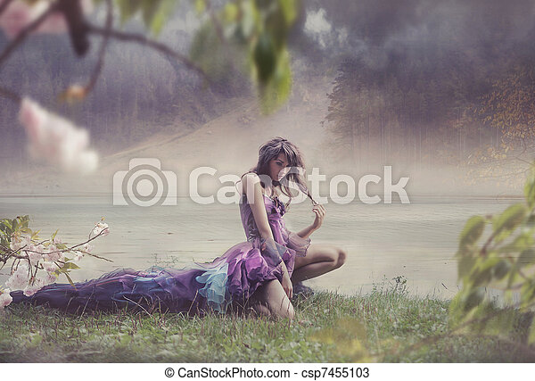 Beauty woman in fairy scenery - csp7455103