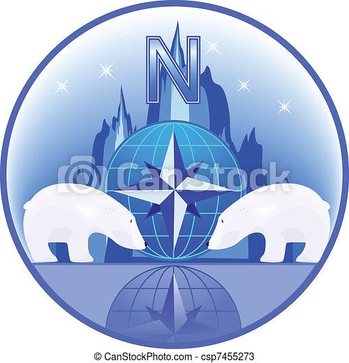 Pole with polar bears - csp7455273