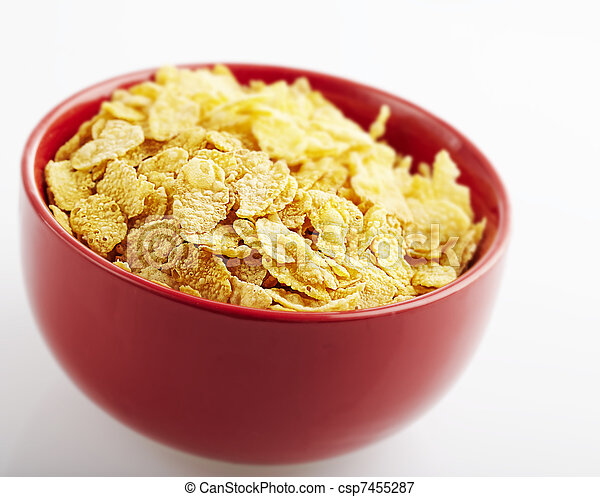 Picture of cornflakes bowl - red cornflakes bowl on a white ...