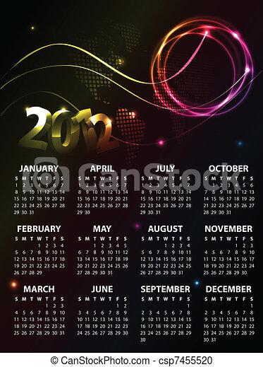 Calendar Design 2012 - csp7455520