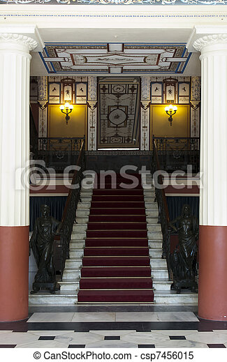 MAin entrance stairs from Achillion palace - Corfu, Greece - csp7456015