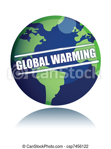 global warming globe with sign  - csp7456122