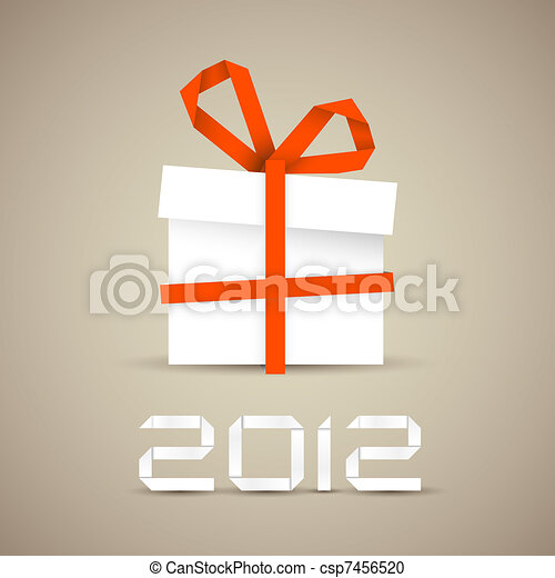 Simple vector christmas gift made from paper - csp7456520