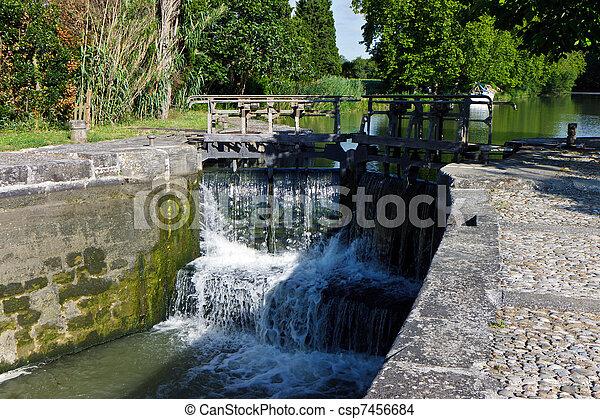 lock on river, France - csp7456684