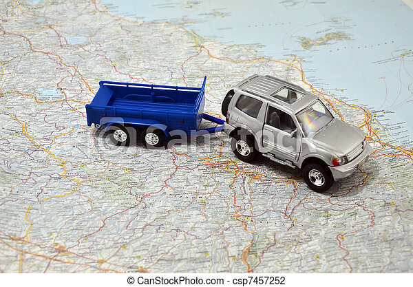 concept small jeep with trailer toy car on italy map - csp7457252