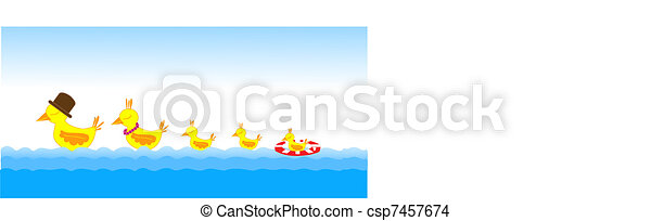 Birds family on the sea - csp7457674
