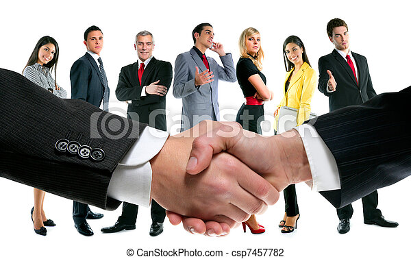 business people handshake and company team - csp7457782