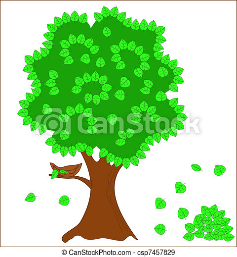 Green tree with nest - csp7457829