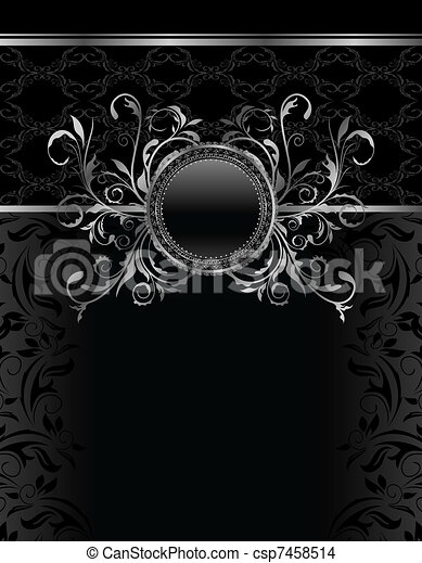 Illustration luxury vintage aluminum frame template - vector - csp7458514