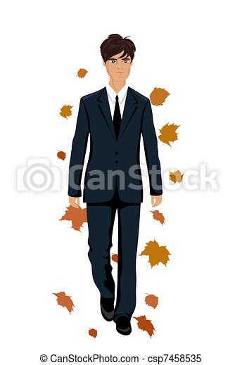 elegant autumn man isolated - csp7458535