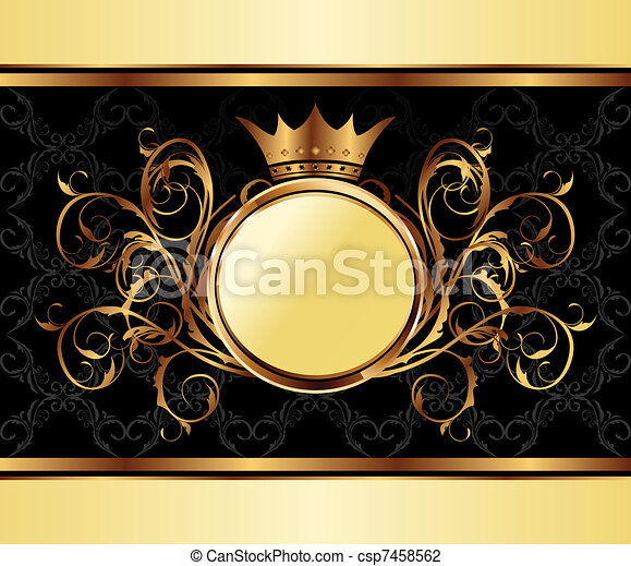 gold invitation frame or packing for elegant design - csp7458562