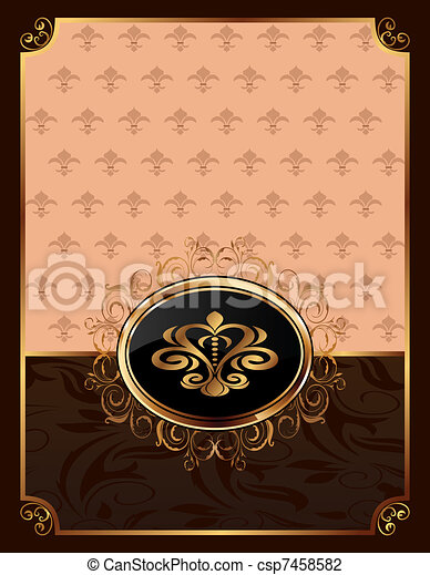 golden ornate frame with emblem - csp7458582