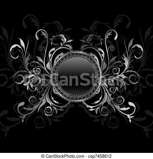 aluminium background with ornamental medallion - csp7458612