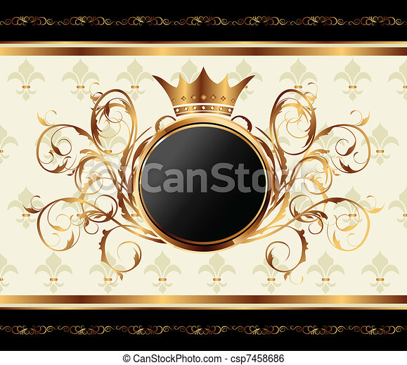 gold invitation frame or packing for elegant design - csp7458686
