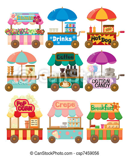 Cartoon market store car icon collection - csp7459056