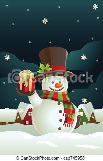Snowman holding Christmas present - csp7459581