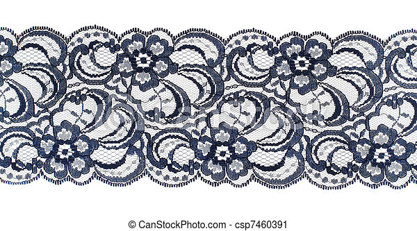 Lace trim ribbon over white. Embroidered fabric. Closeup - csp7460391