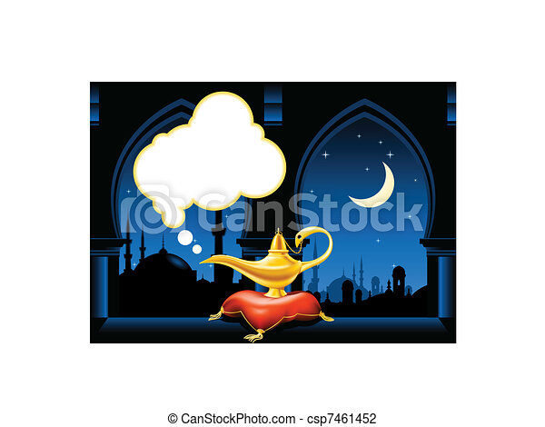 Magic lamp and arabic city skyline - csp7461452
