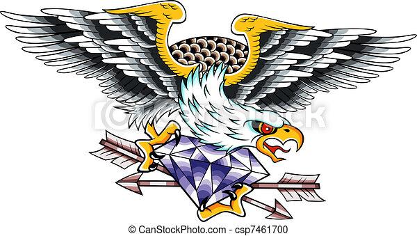 Clipart vecteur de aigle classique embl me tatouage - Comment dessiner un aigle royal ...