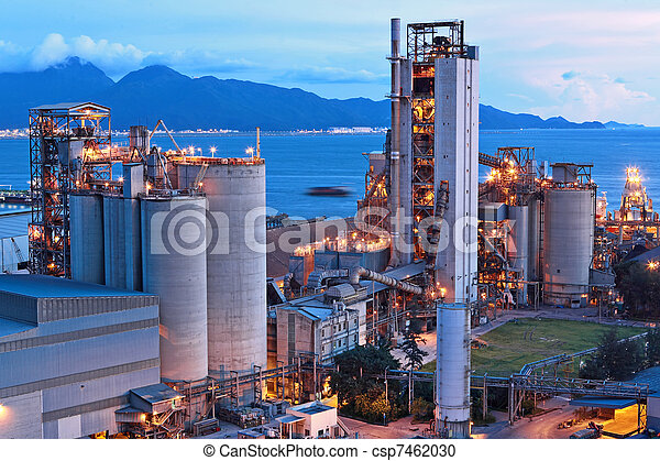 cement factory at night - csp7462030