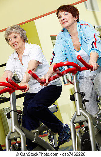 Pensioners in gym  - csp7462226