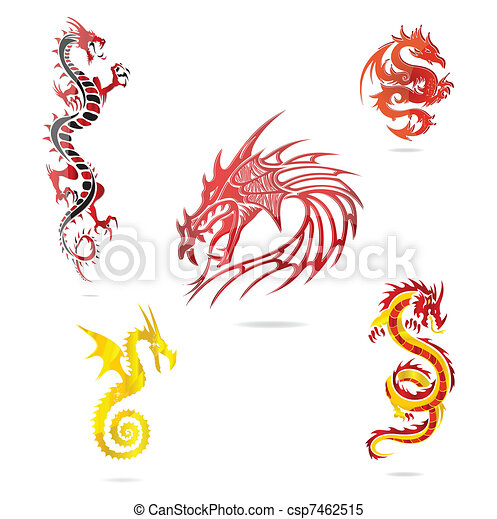 asia colored dragons sign set isolated - csp7462515