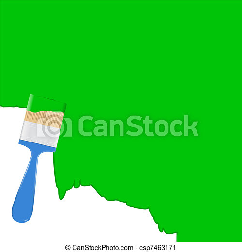 Vector green background with blue paintbrush  - csp7463171