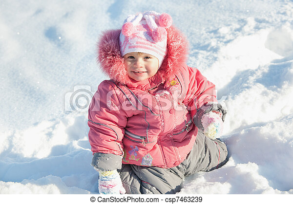 Little girl discovering snow - csp7463239