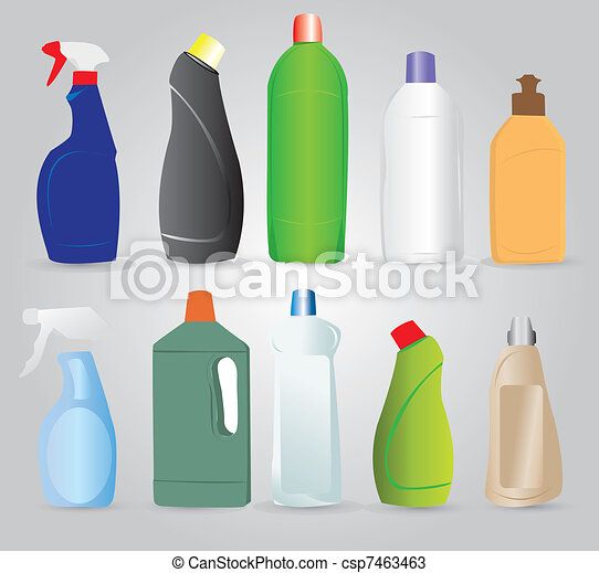 Bottles of cleaning products - csp7463463