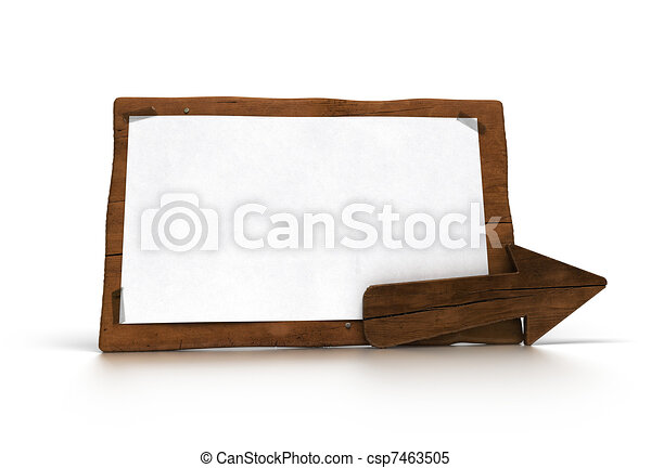 old wooden panel over white background with wood arrow. There is a white paper fixed onto the banner for communication - csp7463505