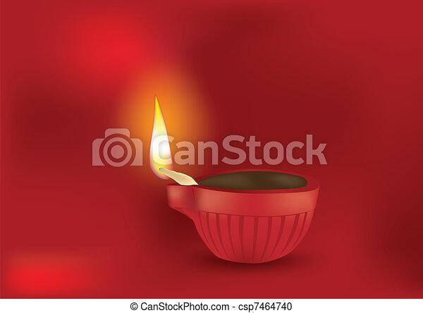 Diwali Diya Vector Illustration - csp7464740