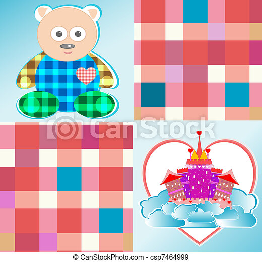 magical fairytale castle pink bear - csp7464999