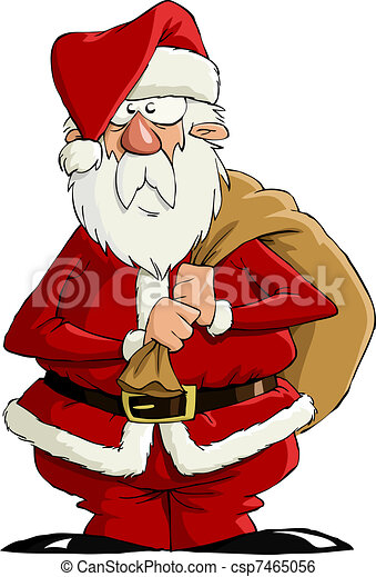 Clip Art Vector of Santa Claus on a white background, vector ...