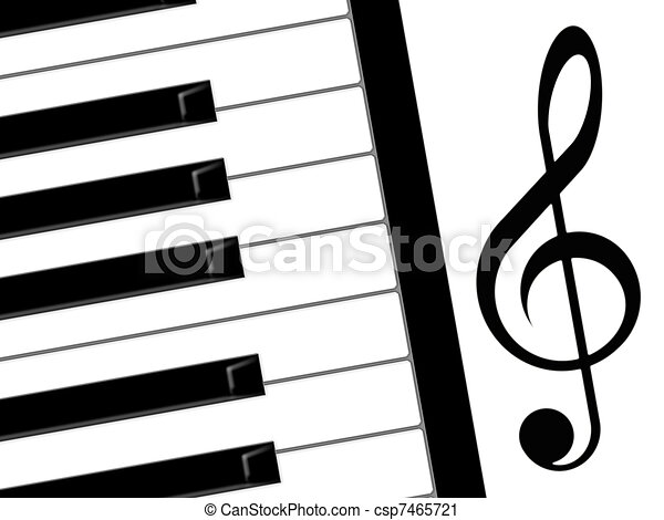 treble clef and piano - csp7465721